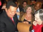 Hugo Chávez, Marialcira Matute, Mónica Chalbaud. MIraflores, 2008